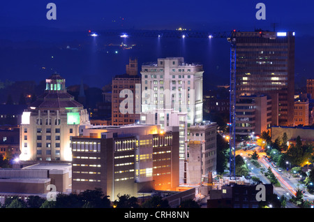 Downtown Asheville, North Carolina's city hall and courthouse building among other notable structures. - Stock Photo