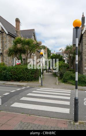 British Zebra pedestrian road crossing. - Stock Photo
