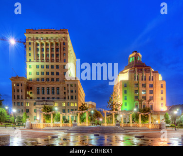 Pack Square Park with government buildings behind in downtown Asheville, North Carolina, USA - Stock Photo