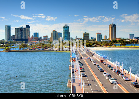 Skyline of St. Petersburg, Florida from the Pier. - Stock Photo