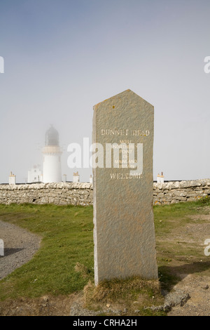 Dunnet Head Caithness North Scotland UK Most northerly point of mainland Britain with lighthouse covered in mist - Stock Photo