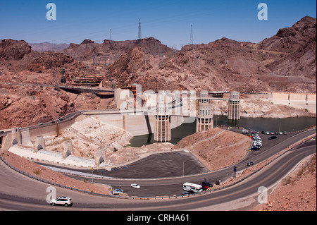 Hoover Dam viewed from the lookout point above the Dam - Stock Photo