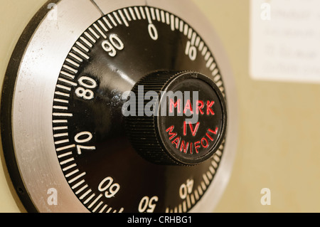 Closeup of a combination lock on a Chubb Mark IV Manifoil military-grade Government standard secure safe - Stock Photo