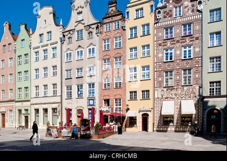 Townhouses overlooking Long Market, Old Town, Gdansk, Poland - Stock Photo