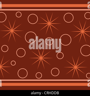 Stars, circles and stripes pattern on brown - Stock Photo