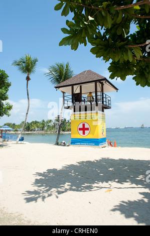 Life saver's post at Palawan beach on Sentosa island, Singapore, Asia - Stock Photo