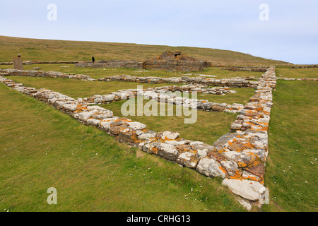 Remains of Pictish and Norse settlement with 12th century church excavated on Brough of Birsay Orkney Islands, Scotland, - Stock Photo