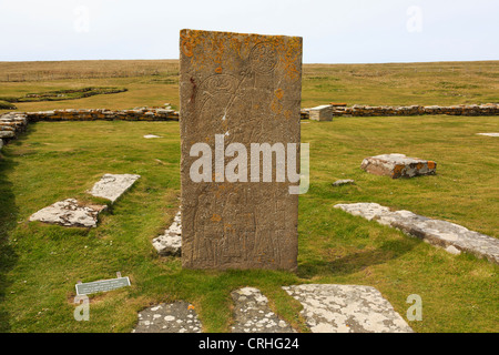 Replica of Pictish symbol stone found in Norse settlement excavated on the Brough of Birsay Orkney Islands, Scotland, - Stock Photo