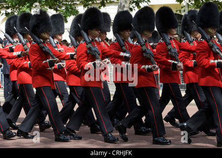 16th of June Guardsmen marching down the mall for the Trooping the Colour in celebration of the Queens Birthday - Stock Photo