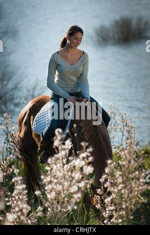 Woman riding horse in rural field - Stock Photo