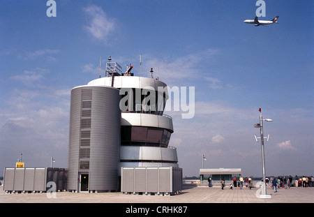 Duesseldorf, Germany, airport tower surrounded front terrace - Stock Photo