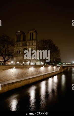 Notre Dame de Paris viewed over Seine river, Paris, France - Stock Photo