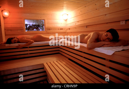 sigmaringen germany couple in the sauna stock photo royalty free image 48946297 alamy. Black Bedroom Furniture Sets. Home Design Ideas