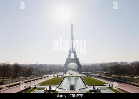 Eiffel Tower viewed from Champ de Mars, Paris, France - Stock Photo