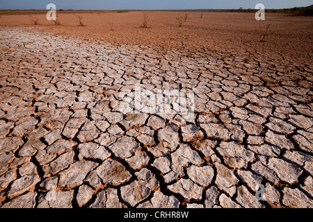 Cracked soil in Sarigua national park (desert), in the Herrera province, Republic of Panama. - Stock Photo