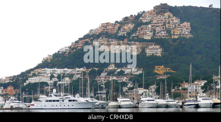 yachts in the harbour, Spain, Balearen, Majorca, Port Andratx - Stock Photo