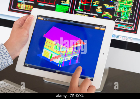 Architect Using Ipad Cad Computer Aided Design Application To Model Stock Photo Royalty Free