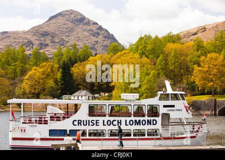 A cruise boat on Loch Lomond, Scotland, UK. - Stock Photo