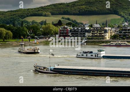 Boats on the Rhine near Bonn, NRW, Germany. - Stock Photo