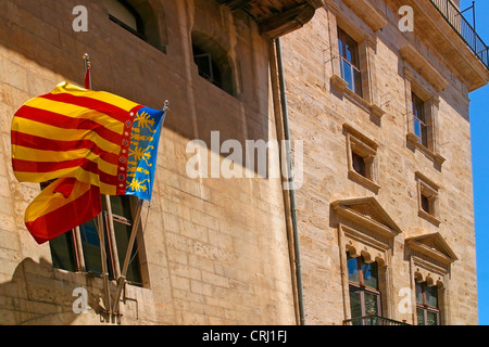 flag of Valencia at a building in the old town, Spain, Katalonia, Valencia - Stock Photo