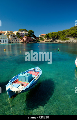 boat appearing to float in air, assos harbour, kefalonia, ionian islands, greece - Stock Photo