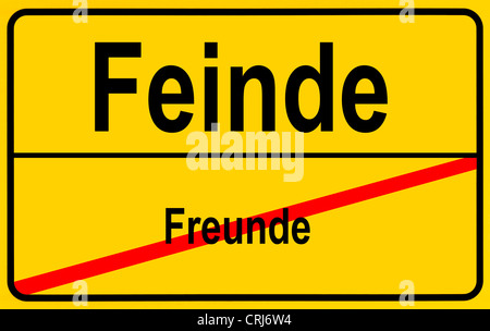 ciy sign Freunde - Feinde, friends - enemies, Germany - Stock Photo