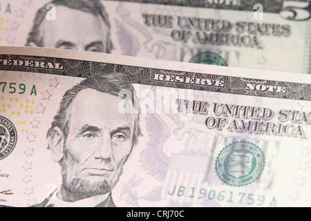 USA US $5 5 dollar bill note - Stock Photo