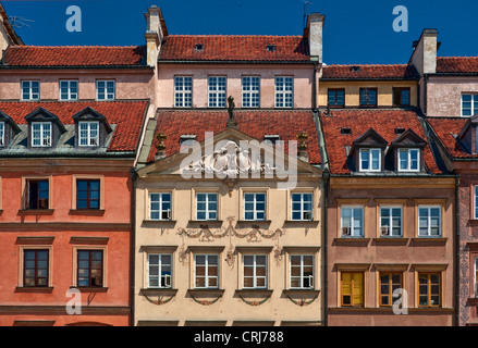 Burghers houses at Old Town Market Square in Warsaw, Poland - Stock Photo