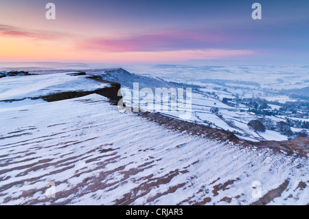 snow early morning on Froggatt edge Derbyshire Peak District National park Calver England UK GB EU Europe - Stock Photo