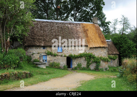 Old French Stone Breton Cottage At The Ecomusee De Saint Degan In Brittany France