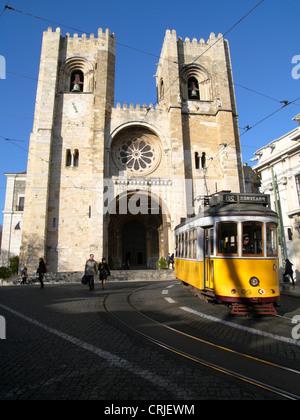 Lisbon Cathedral at the Alfama Quarter, Portugal, Lisbon - Stock Photo
