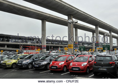 rent a car parking roissy charles de gaulle airport paris france stock photo royalty free image. Black Bedroom Furniture Sets. Home Design Ideas