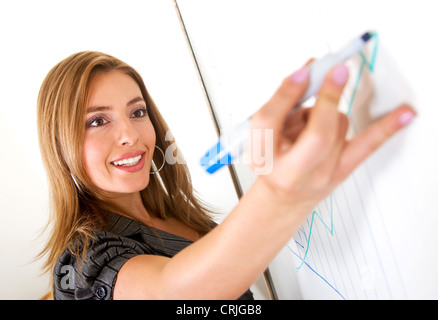 business woman drawing a rampant flow chart on a wall panel - Stock Photo
