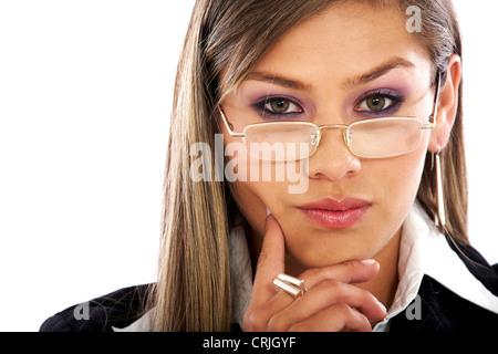 thoughtful business woman portrait wearing glasses - Stock Photo