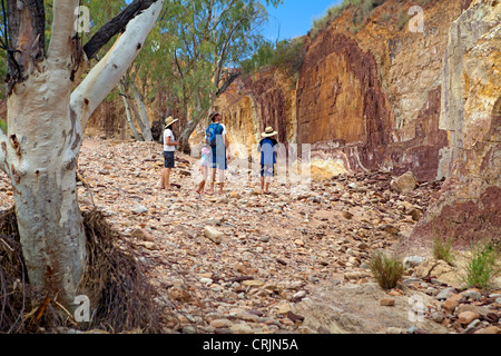 The coloured walls of the Ochre Pits in the West MacDonnell Ranges - Stock Photo