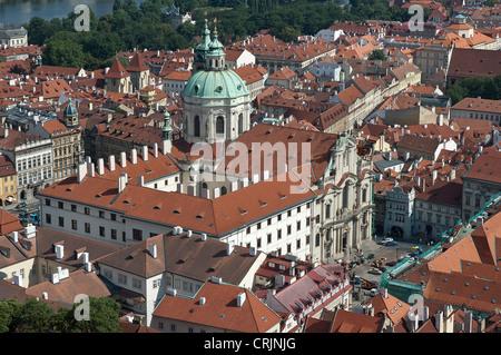Elk188-1436 Czech Republic, Prague, Mala Strana, Church of St Nicholas, 19th c - Stock Photo