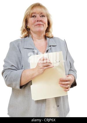 Mature woman smiles confidently - Stock Photo