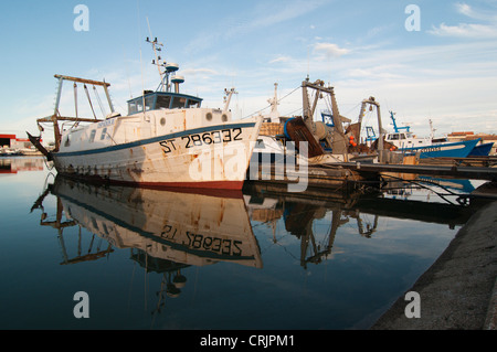 fishing trawler in the harbour, France, Languedoc-Roussillon, Camargue, Le Grau-du-Roi - Stock Photo