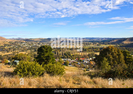 View of Gundagai from Mt Parnassus, New South Wales, Australia - Stock Photo