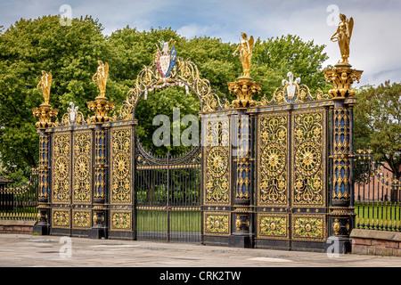 Warrington town hall Golden Gates. - Stock Photo
