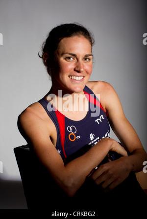 Triathlete Gwen Jorgensen at the Team USA Media Summit in Dallas, TX in advance of the 2012 London Olympics. - Stock Photo