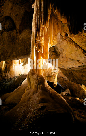Stalactites, stalagmites and sinter forms in the cave Punkva, Moravian Karst, Czech Republic - Stock Photo