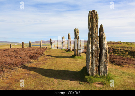 Scottish Orkney Isles Ring of Brodgar Neolithic henge and stone circle of standing stones is largest in Orkneys. - Stock Photo