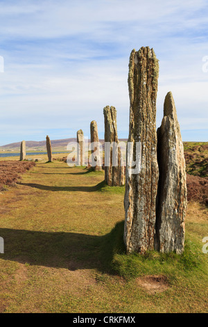 Ring of Brodgar Neolithic henge and stone circle of standing stones is largest in Orkneys. Stenness Orkney Islands - Stock Photo