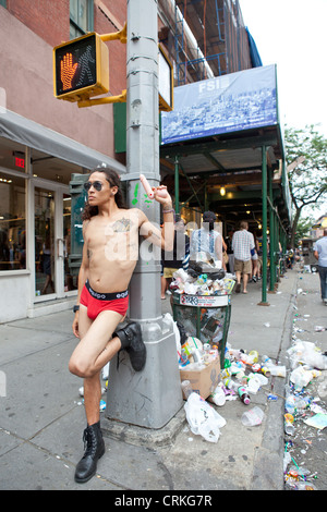 gay guy with dildo, gay pride march, New York - Stock Photo