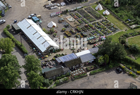 aerial view of a garden centre in essex stock photo