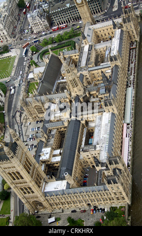 unusual aerial view of the Houses of Parliament, Palace of Westminster, London SW1 - Stock Photo