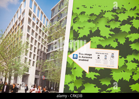 Aurasma Enabled pictures giving information about the regeneration works at Kings Cross, Lonon, UK. - Stock Photo