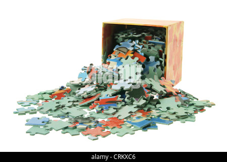 Box of Jigsaw Puzzle Pieces - Stock Photo