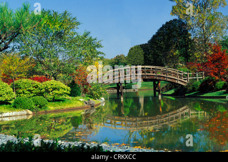 Wooden curved bridge over pond in the Missouri Botanical Garden, St. Louis USA - Stock Photo